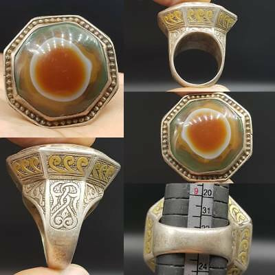 Antique Rare Wonderful Unique Agate Stone Solid Silver Old Ring  # 2w