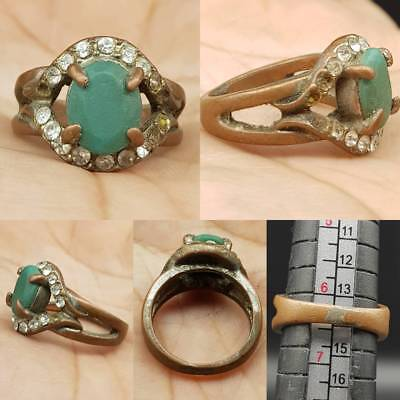 Wonderful Unique Old Stone & crystal stone Antique Ring  # 2w