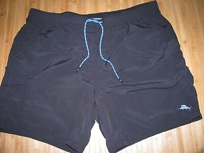 TOMMY BAHAMA Swimsuit TRUNKS Size XL Nylon SOLID BLACK with MESH LINER