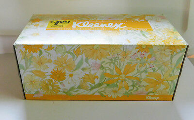 Vintage Yellow Kleenex Facial Tissue Flowered Box Never Used 250 Count