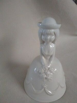 Goebel West Germany Girl Figure Bell White  With Flowers