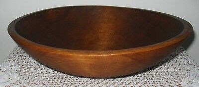 "VTG Woodenware Ovoid Round Wood Dough Mixing BOWL 11"" Vermont Mill Stamped Orig"