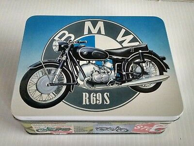 BMW R69S Motorcycle Vintage jigsaw puzzle in collector metal box RARE!