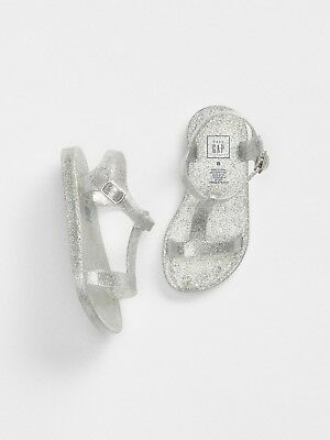 e73dad364269 GAP Baby   Toddler Girl Size 6 Silver T-Strap Jelly Sandals Water   Beach