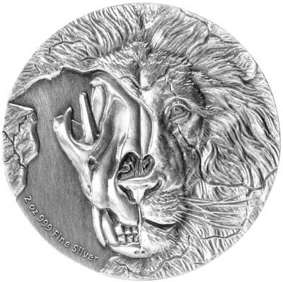 NIUE 2018 $5 ASIATIC LION SKULL 2 Oz Silver Coin.  ON HANDS.