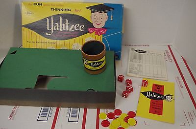 Vintage USA 1967 Yahtzee Game E.S. Lowe score Pad, Dice, Cups, Chips