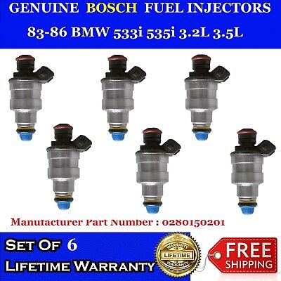 6 Fuel Injectors OEM BOSCH For 1982-1991 BMW Porsche Pontiac Buick #0280150201