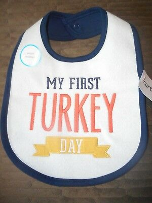 CARTER'S NWT Girl Boy One Sz Fits All My First Turkey Day bib water resistant