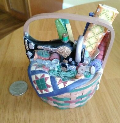 """Sewing Basket Sewing Machine Quilt Fabric Notions """" A Basket For You"""" Resin"""