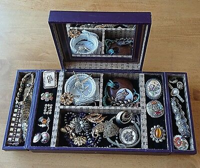 Job lot of Antique/Vintage & Modern Costume Jewellery and Decorative Wooden Box