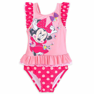 NWT Disney Store Minnie Mouse Deluxe 2pc Swimsuit Girls UPF 50+ 4,5/6,7/8