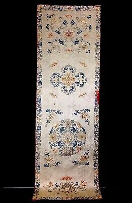 "Amazing Large Antique 18th / 19th Century Chinese Satin Silk Panel 64"" X 21"""