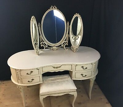 vintage cream and gold louis style dressing table with mirror and matching stool