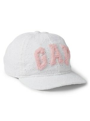 d0c6d55f032aa GAP Baby   Toddler Girls Size S   M White   Pink Eyelet Logo Baseball Hat
