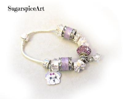 Maltese Handpainted Silver Lavender Charm Glass Bead Bracelet by SugarspiceArt