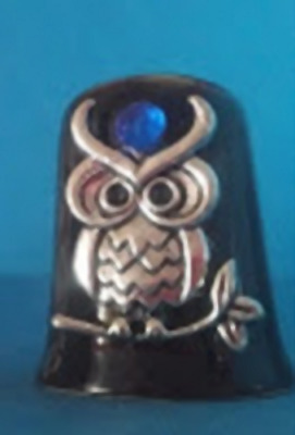 Antique silver colored Owl with Rhinestone on Ceramic Black Thimble
