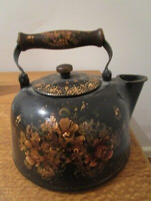 Floral Hand Painted Antique 'country Style' Cast Iron Kettle.