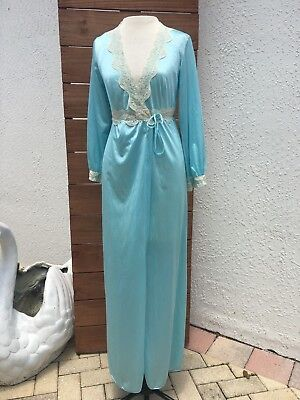 Vintage 70s Light Blue long Robe  Nylon USA made Sz Medium