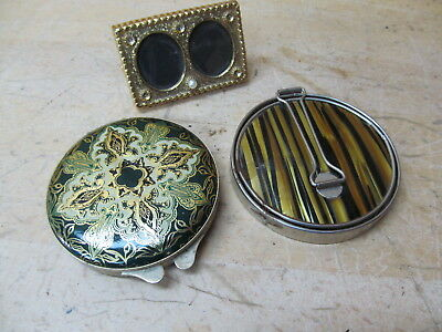 Treville Pocket Mirror + Makeup Compact + Vintage Small Picture Frame
