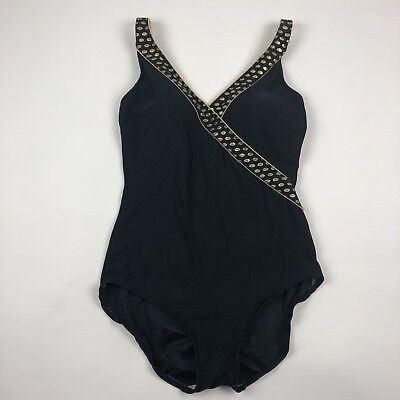 Vintage Padded One Piece Adjustable Swimsuit Black Gold Womens