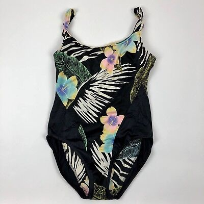 Vintage Union Made High Rise One Piece Swimsuit Lined Black Floral Womens 14