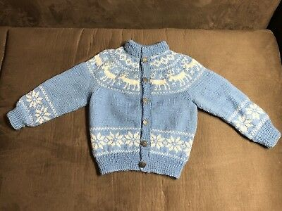 Vintage Siril Toddler Norwegian Baby Blue Wool Sweater Karl Johanstg 27 Oslo 1