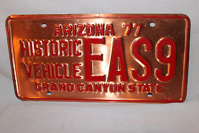 Vintage 1977 Arizona Copper Historical Vehicle License Plate EAS9 MVD Cleared