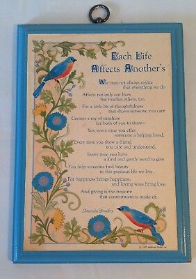 "Vintage Hallmark Cards Wood Plaque ""Each Life Affects Another's"" - Bluebirds"