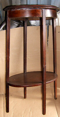 Antique Wooden Side Table Plant Stand Inlaid Top