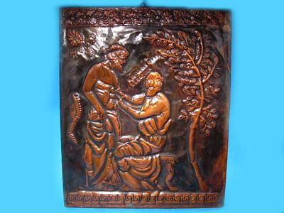 Choice Vintage Wall Hanging Copper Plaque With Hippocrates!!!