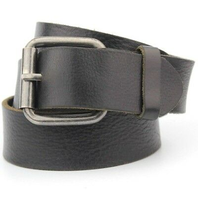 """Black Thick Real Leather Belt Retro Vintage 38mm Wide Fits 32-34"""" Waist"""
