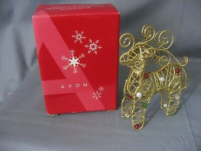 *avon* Glittery Fancy Reindeer Wire Christmas Ornament In Original Box