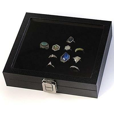Glass Decorative Boxes Top Ring Display Showcase With Velvet Insert Liner (1, 36