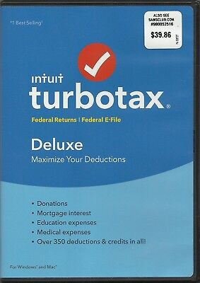 Intuit TurboTax Deluxe Federal Returns, Federal E-File for tax year 2017
