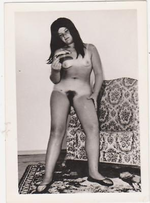 1960s NUDE strange girl w/ banana PHOTO naked RISQUE woman