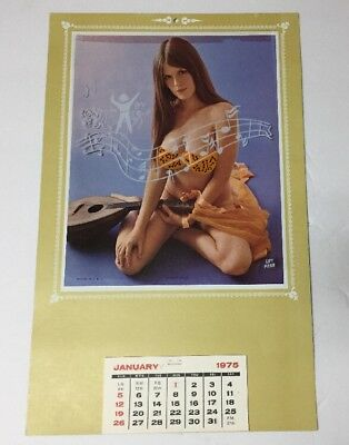 "1975 Nude Pin Up Girl Calendar ""Flip-up"" Music Maid"