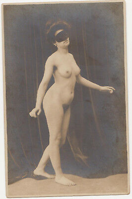 1900/10s NUDE girl w/ mask ! PHOTO PC naked RISQUE beauty woman