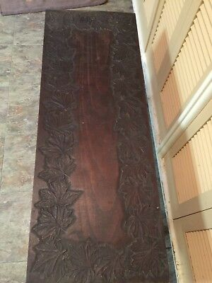 Unique Arts and Crafts Maple Leaf Walnut Table Panel Refectory Primative