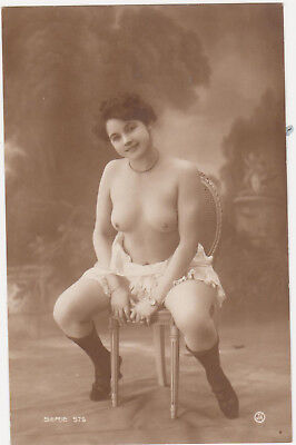 Old NUDE French girl PHOTO PC naked RISQUE beauty stockings Jean Agelou 576 / 2