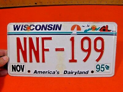 1995 2Nd Gen Small Font Red Letters Wisconsin Car License Plate Tag - Nnf-199