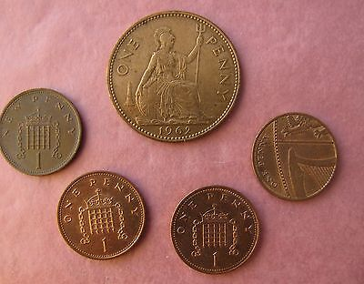 (5) One Pence / New Pence Coins 2010,2008,1996,1971 & 1962 Circulated