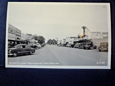 RPPC Alamogordo, NM NEW MEXICO Street View Stores, Signs, Old Cars
