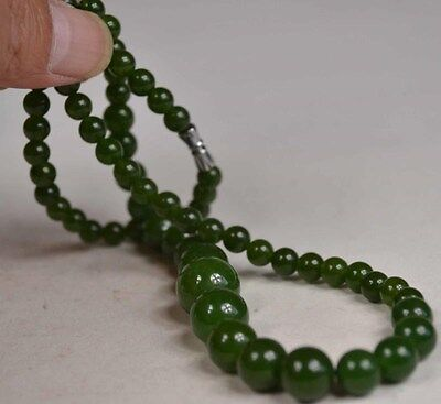 Chinese Oriental Vintage Green Jade Beads Gemstone Necklace