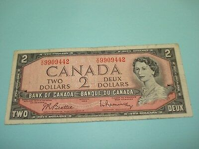 1954 - Canada $2 bank note - Canadian two dollar bill - VU9909442