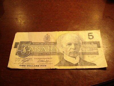 1986 - Canada $5 bank note - Canadian five dollar bill - ANR0158328
