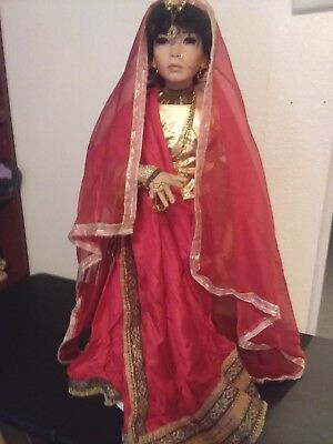 Porcelain Doll Arab Middle Eastern Girl in Suri Gown w/ stand