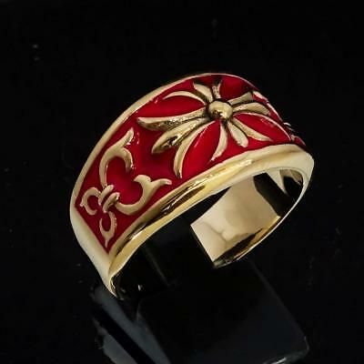 Medieval Bronze Mens Knight Ring Fleur De Lis Cross Lily Dark Red Any Size