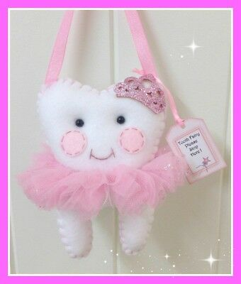 Tooth Fairy Pillow  Glitz  Pink- Pocket on the back for lost Tooth-Handmade