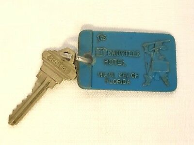 Vintage The Deauville Hotel Miami Beach Florida Room Key And Fob Room 1518