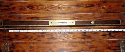 "Antique Stratton Brothers Brass Bound 28"" Level No.1 : 3 Patent 1872, 1887, 1888"